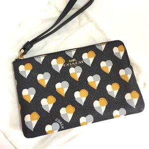 Coach Checkered Heart Corner Zip Wristlet